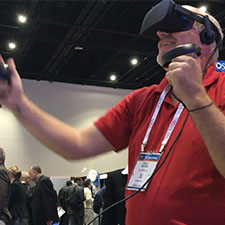 A man with a VR headset.