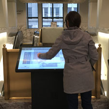 A person using a touchscreen application.